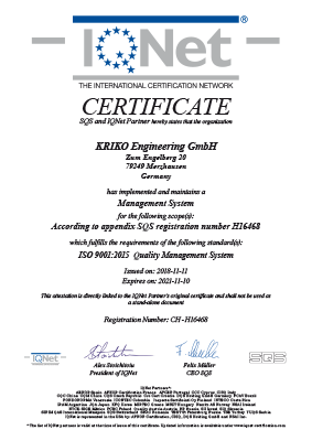 ISO 9001:2015 IQNet and SQS Certificate (English)
