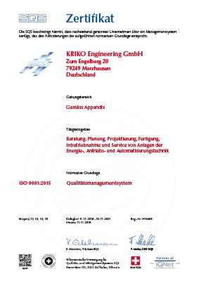 ISO 9001:2015 SQS Zertifikat (Deutsch) Qualitätsmanagementsystem